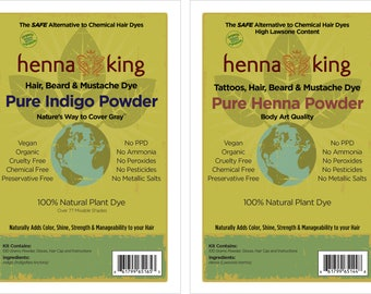 Henna King Black: 2-Step Process for Men and Women 100% Natural & Chemical Free Hair Coloring