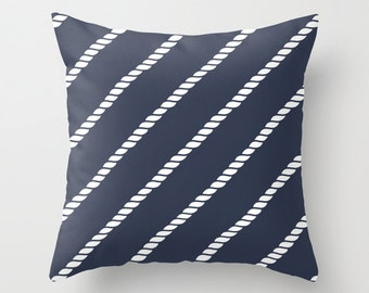 Nautical Rope Pillow Cover, nautical rope decor, sailing pillow, nautical pillow, navy pillow, blue pillow, beach pillow, choose color