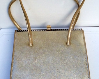 Vintage Retro 1950s Metallic Gold Evening Bag, Metal Rhinestone Frame, Mid Century Purse By Alligator