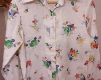 Vintage Woman's Queer Way Floral Shirt