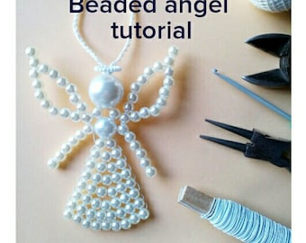 Beaded angel tutorial, Beading Pattern, How to make beaded angel, Christmas Ornament, Beaded Ornament Pattern