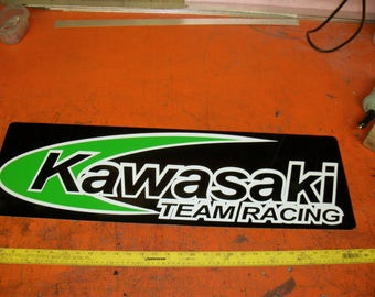 Kawasaki Team Racing metal sign 30x10 inch