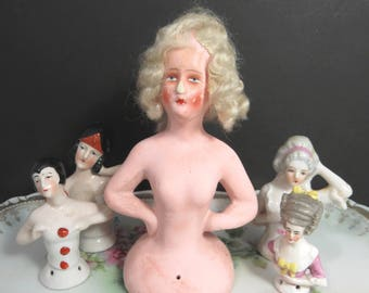 Boudoir Half Doll, Pin Cushion, Made in Germany, Sewing Accessory