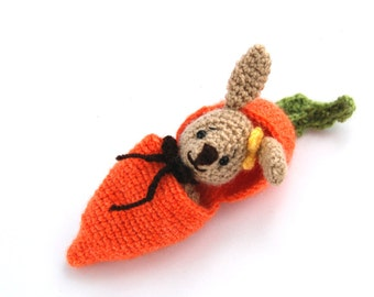EASTER amigurumi BUNNY in a carrot purse, hide in bunny, add to Easter basket, traveling toy, crochet carrot, miniature rabbit