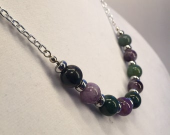 Stone Bead Necklace - Green and Purple
