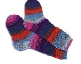 Hand knitted socks Handmade socks Wool socks Warm socks Rainbow socks Women's socks Men's socks