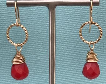 Handmade Coral & gold fill drop earrings, Coral and gold earrings, Red Coral earrings, Red and gold earrings, Goldfill wire wrapped earrings