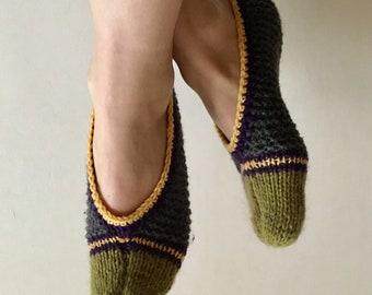 Wool slippers. Hand knitted slipper socks. Natural wool socks. Minimal slippers. Knitted slippers. Home slippers. Handmade slippers