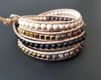 4 rounds - Jasper onyx hematite howlite gemstones and leather wrap bracelet