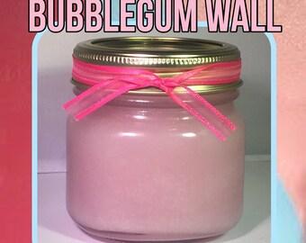 Bubblegum wall sugar scrub; strawberry and cherry bubblegum sugar scrub; candy sugar scrub