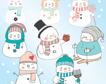 SNOWMAN CLIPART [winter clip art hand drawn version]