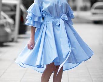 Summer Cotton Maxi Dress for Women, Mid Length Dresses, Day Wear Dress, Plus Size Maxi Dress, Loose Dress, Summer Dress by EUG - DR0168CT