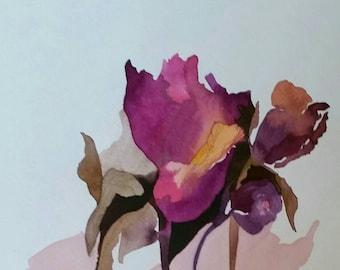 "SALE:  ""Rumpled Roses Tango"" original, one of a kind watercolor"