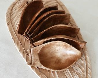 Midcentury Teak dipping bowls/ set of 7