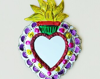 Mexican Folk Art / Milagrito / Yellow Flame Miracle Heart / Mexican Tin Ornament / Hand Painted Mirror / Flame Sacred Heart / Oaxaca Token