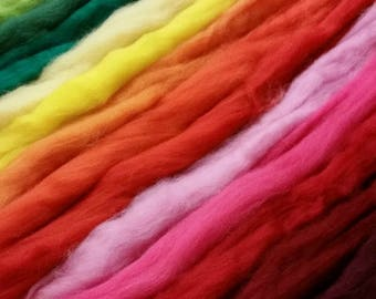 Sampler: 28 Color Wool Roving with Corriedale Wool Roving. Bag of Candy for the fiber Arisit! Dyed and natural colors.