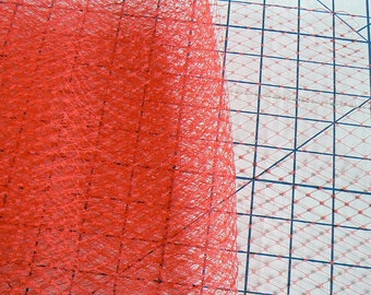 red veil - hat making veil - red birdcage veiling
