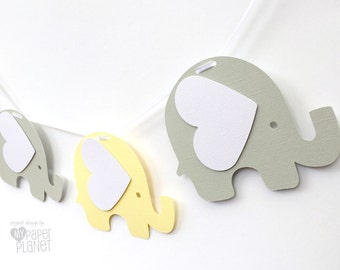 Pastel Yellow & Light Grey Elephant Garland. Photo prop, Baby shower, first birthday party, bunting, banner. Handmade party decoration