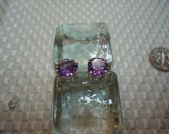 Octagon Cut Color Change Amethyst Earrings in Sterling Silver  #2099