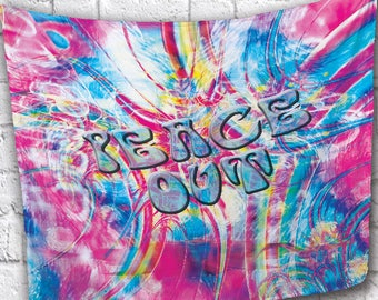"""NEW!!! 50"""" x 60"""" """"Peace Out""""  Soft Anti-Peel Fleece Throw Blanket or Wall Tapestry with Gramats!"""