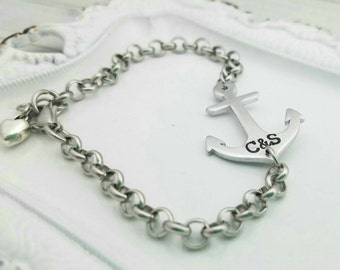 Personalized anchor bracelet