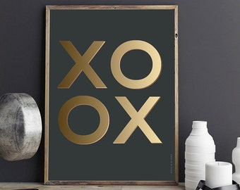 XOXO Print – PRINTABLE FILE. Hugs and Kisses Art Print. X's & O's. Love Décor. Faux Gold Typography Print. Gold Love Print. Dorm Room Art.