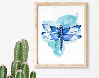 Dragonfly Watercolor Print Watercolor Dragonfly Art Dragonfly Painting Dragonfly Art Room Decor Nursery Wall Art Baby Nursery Art Dragonfly