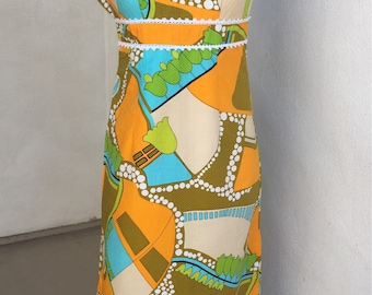 Vintage  70's colorful floral long dress by Hawaii Penney's lace trim sleeveless sz S