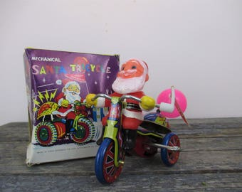 Mechanical Santa Tricycle, Vintage Wind Up Toy, Motorcycle Toy, MTU Mechanical Toys, Christmas Toy