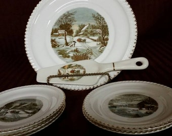 Harkerware serving set. Currier and Ives. Plate,  spatula and 5 small plates. USA