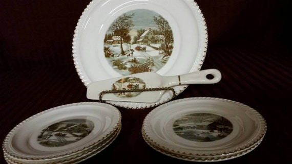 Harkerware serving set. Currier and Ives. Plate spatula and