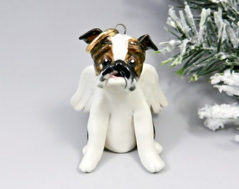 English Bulldog Angel Christmas Ornament Figurine Porcelain Clearance