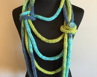 Spring Flood Chunky I-Cord Scarf Necklace