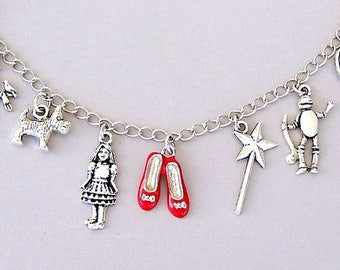Wizard of Oz bracelet, ruby slippers charm, Dorothy, Toto, cowardly lion, scarecrow, tin man, rainbow, retro gift, movie classic, red shoes