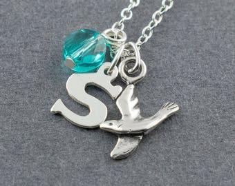 Bird Charm Necklace, personalized