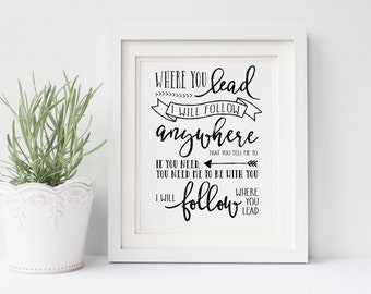 """Gilmore Girls Poster- Where You Lead Lyrics- DIGITAL Print 8x10"""", I Will Follow, Lorelai Gilmore, Rory Gilmore, Gallery Wall, Gift for Her"""