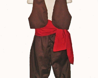 Pirate Costume Vest, Sash, Britches Youth Sizes