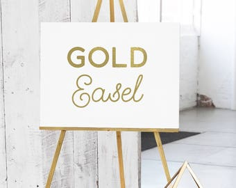 Gold Wedding Easel - Gold Wood Easel - Easel for Sign  -Gold Display Easel - Gold Floor Easel