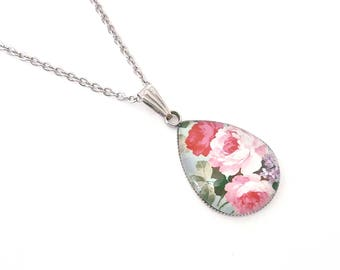 Personalized gift for women Personalized flower necklace  Flower lover gifts Pink flower necklace Peony necklace Flower necklace silver