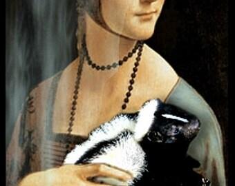 DA VINCI Decorative Wooden Jewelry Box Altered Art: Lady With Skunk Decobox