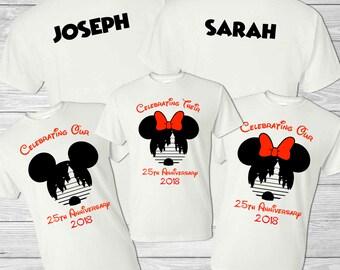 Disney Family Vacation Shirt - Mickey Head & Cinderella's Castle - Personalized Anniversary Shirt