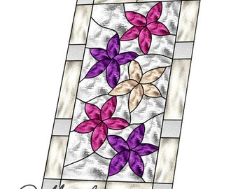 floral panel stained glass pattern