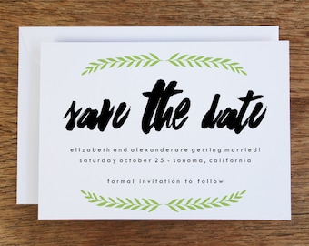 Printable Save the Date Card - Save the Date Template - Instant Download - Save the Date PDF -  Black and Green Save the Date Card - Laurel