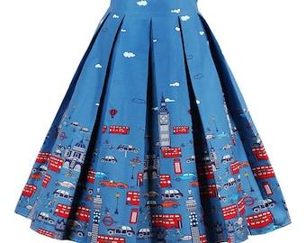 Vintage High waist Car Printed Summer skirt