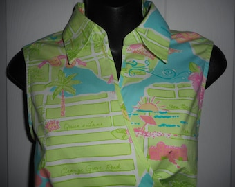 """LILLY PULITZER """"Fashion Boulevard"""" Wrap Blouse Top Size 12"""