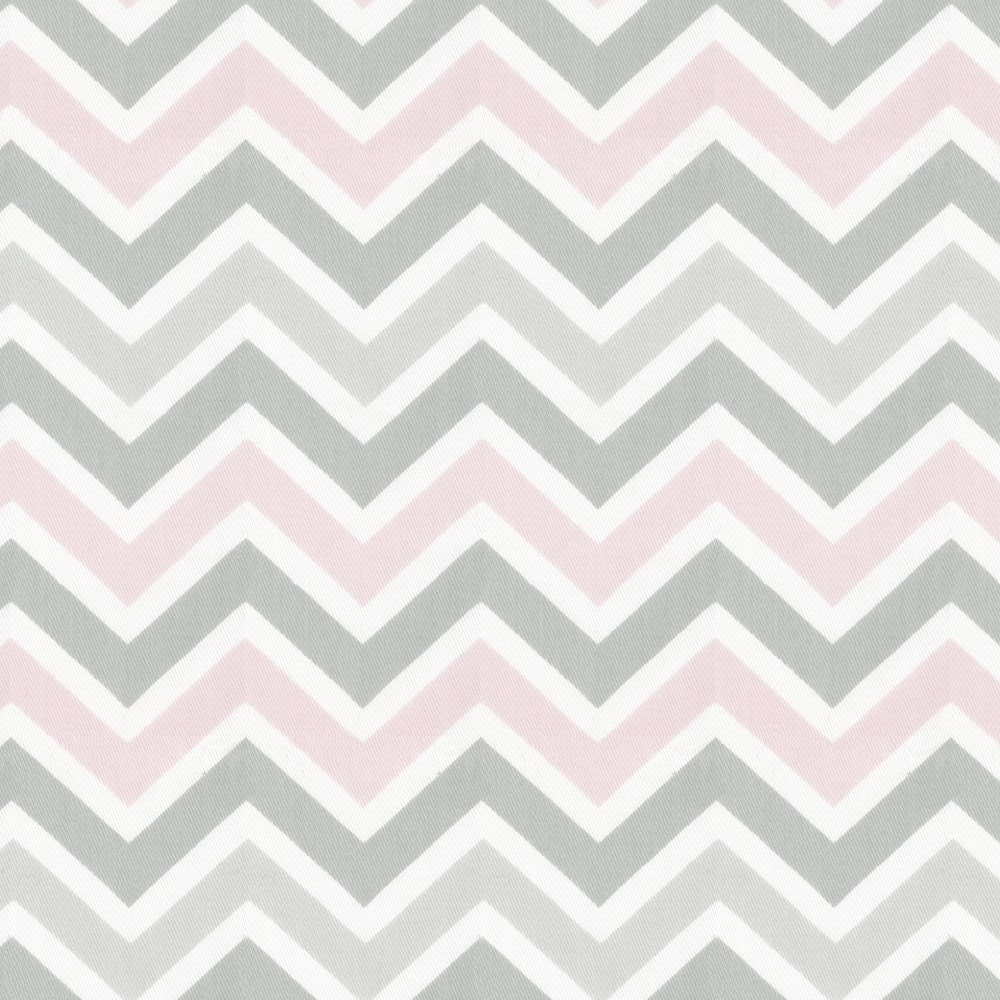 Pink and Gray Chevron Fabric By The Yard Pink / Gray /