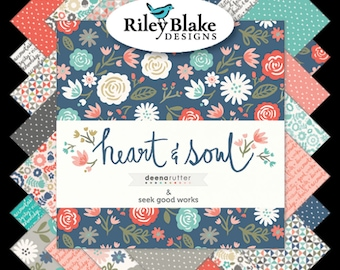"""Heart and Soul Charm Pack - 5"""" Inch Precut Fabric Squares - Riley Blake Stacker 5-6700-42 - Modern Floral Fabric - Deena Rutter"""