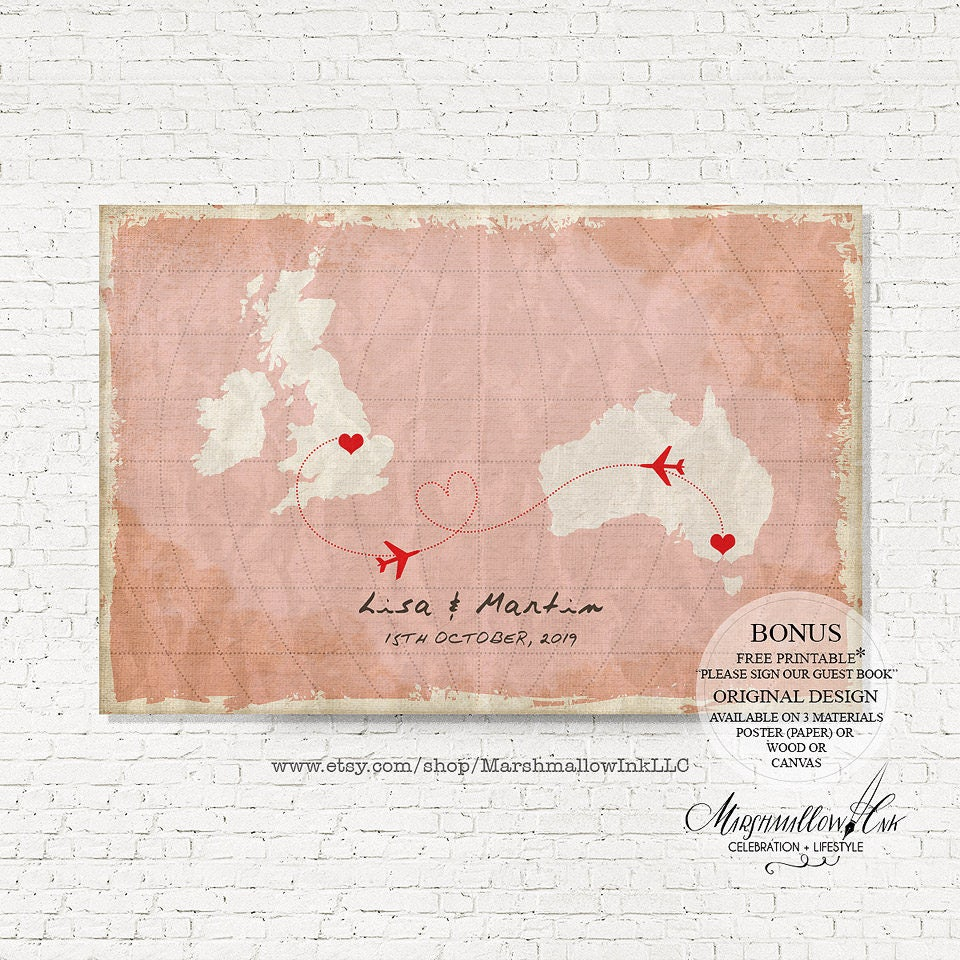 Unique Wedding Guest Book Map Vintage Wedding Signs Canvas
