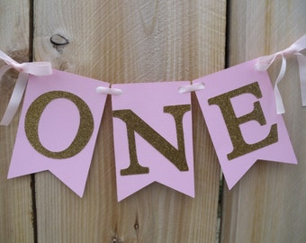 Light Pink And Gold High Chair Banner, First Birthday Banner, Photo Prop