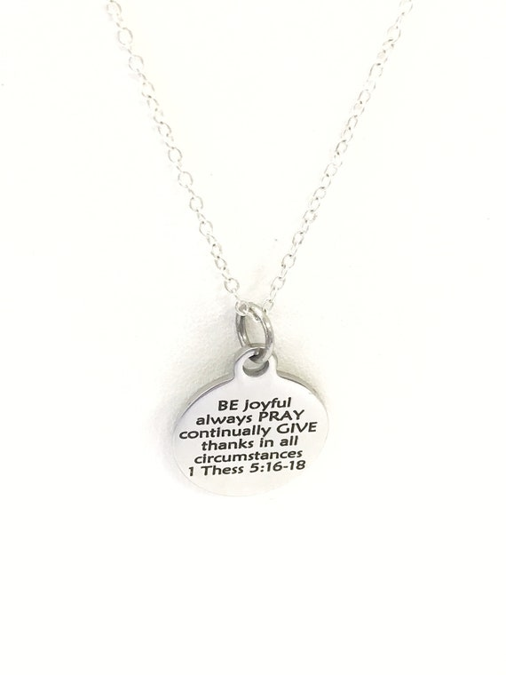 Christian Necklace, Be Pray Give Necklace, First Thessalonians 5 Necklace, Christian Jewelry, Bible Verse Necklace, Scripture Gifts